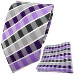 TigerTie Designer Krawatte + Einstecktuch lila grau anthrazit weiß gestreift
