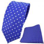 schmale TigerTie Krawatte + Einstecktuch blau ultramarinblau silber gepunktet