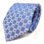 Schöne Designer Seidenkrawatte blau hellblau silber gemustert - Krawatte Seide