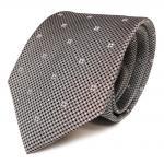 Designer Seidenkrawatte grau silber schwarz weiss gemustert - Krawatte Seide