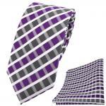schmale TigerTie Krawatte + Einstecktuch in violett grau silber weiss gestreift