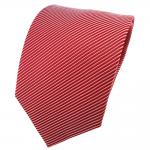 Satin Seidenkrawatte rot verkehrsrot silber gestreift - Krawatte Seide Binder