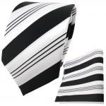 schöne TigerTie Krawatte + Einstecktuch schwarz anthrazit weiß silber gestreift