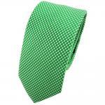 Schmale TigerTie Seidenkrawatte grün silber gepunktet - Krawatte Seide Tie