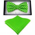 Designer Seidenfliege + Einstecktuch Seide grün leuchtgrün silber weiß gepunktet