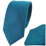schmale TigerTie Krawatte + Einstecktuch in türkisblau schwarz gemustert