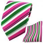TigerTie Krawatte + Einstecktuch pink grün weiß schwarz gestreift