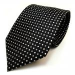 Seidenkrawatte schwarz silber grau weiss gepunktet - Krawatte 100 % Seide Silk