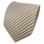 Designer Seidenkrawatte gelb gold silber braun gestreift - Krawatte Seide
