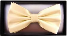 Fliege in beige creme Uni + Geschenkbox, Schleife 30 cm bis 50 cm verstellbar