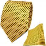 TigerTie Seidenkrawatte + Seideneinstecktuch in gelb silber schwarz gestreift