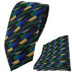 TigerTie Krawatte + Einstecktuch in grün blau gold schwarz gestreift