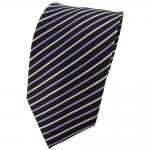 TigerTie Designer Seidenkrawatte blau creme braun gestreift - Krawatte Seide Tie