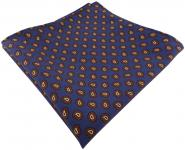 TigerTie handrolliertes Seideneinstecktuch in blau braun schwarz gold Paisley