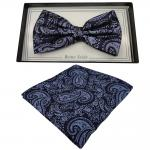 schöne Designer Seidenfliege + Einstecktuch Seide blau royal schwarz Paisley