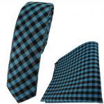 schmale TigerTie Krawatte + Einstecktuch in türkis anthrazit schwarz kariert