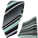 schmale TigerTie Krawatte + Einstecktuch in mint silber grau weiss gestreift