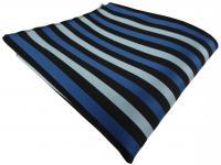 Einstecktuch blau petrol türkis schwarz gestreift - Tuch Polyester Gr. 25x25 cm