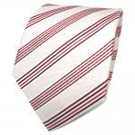 TigerTie Designer Seidenkrawatte creme weiß rot bordeaux gestreift - Krawatte