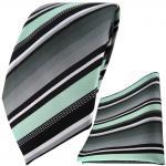 TigerTie Designer Krawatte + Einstecktuch in mint silber grau weiss gestreift