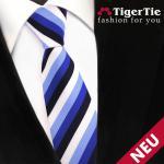 Schmale TigerTie Krawatte blau marine royal weiß pastellblau gestreift - Schlips