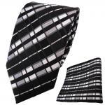 schöne TigerTie Krawatte + Einstecktuch schwarz anthrazit silber grau gestreift