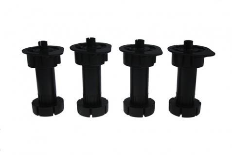 Küchenfuß Sockelfuß Stellfuß 4er Set in schwarz aus Kunststoff Höhe 95 mm
