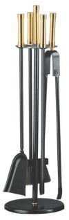 Kaminbesteck Kamingarnitur aus Metall - Griffe Messing - schwarz beschichtet - 4-teilig