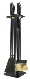 Kaminbesteck Kamingarnitur aus Metall - schwarze Kunststoffgriffe - schwarz beschichtet - 4-teilig