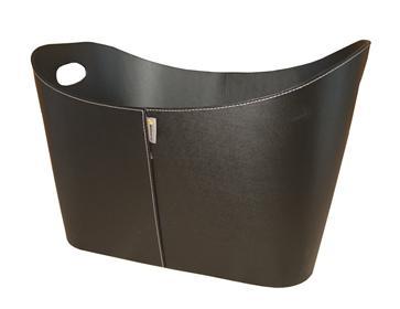 Kunstlederkorb Holzkorb - schwarz mit Grifflöchern