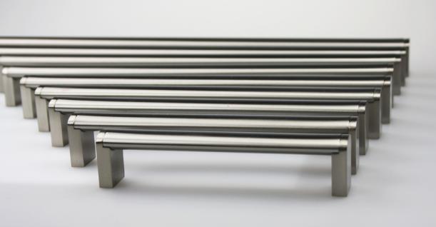 Möbelgriff Schubladengriff aus Metall - Edelstahl matt gebürstet - diverse Lochabstände