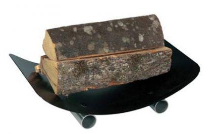 Holzkorb Kamingarnitur Kaminzubehör - schwarz beschichtet mit Edelstahlfüßen