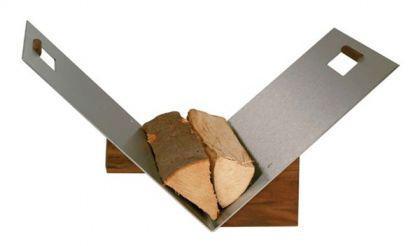 Holzkorb Kaminzubehör Kamingarnitur - Edelstahl , Griffe und Sockel - Nussholz