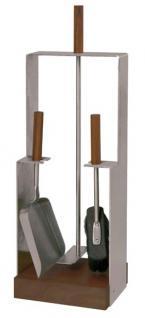 Kaminbesteck Modell 958 - Edelstahl, matt gebürstet ; Griffe aus Nussholz