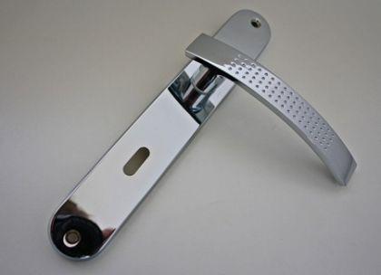 Türdrücker Türklinke Türgriff mit Langschild Lochabstand - 215mm, Chrom glänzend, Buntbart