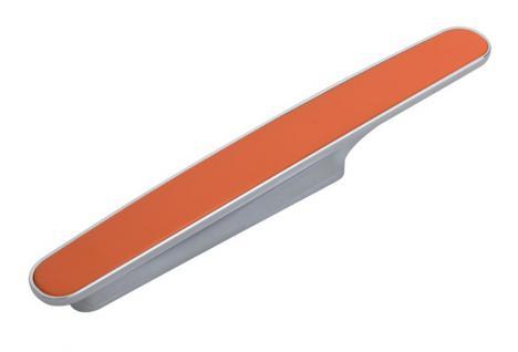 Möbelgriff Küchegriff Mod Chamäleon Orange Sockel chrom Lochabstand 96mm