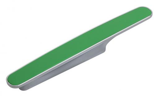 Möbelgriff Küchengriff Mod. Chamäleon in Hellgrün Sockel Chrom matt Lochabstand 96mm