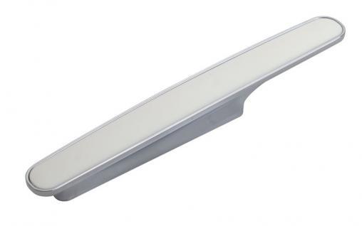 Möbelgriff Küchengriff Mod. Chamäleon in Weiß Sockel Chrom matt Lochabstand 96mm