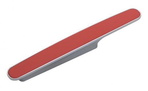 Möbelgriff Küchengriff Mod. Chamäleon in Rot Sockel Chrom matt Lochabstand 96mm