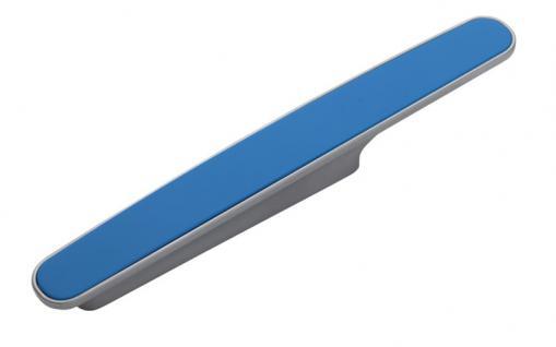 Möbelgriff Küchegriff Mod Chamäleon Blau Sockel chrom Lochabstand 96mm