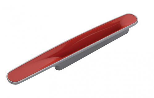 Möbelgriff Küchegriff Mod Chamäleon Rot Sockel chrom Lochabstand 96mm