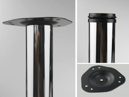 4er Set Tischbeine Möbelfüße Tischstempel Chrom glänzend 710mm ø 50mm