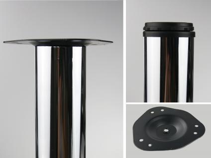 4er Set Tischbeine Möbelfüße Tischstempel Chrom glänzend 710mm ø 60mm
