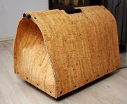 Holztragetasche Holzkorb mit Rollen aus Naturkork B ? H ? T = 52 ? 45 ? 38cm