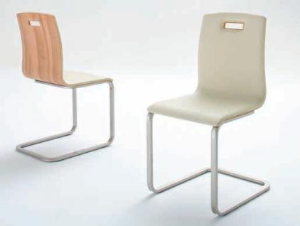 Freischwinger Stuhl Set Stühle Ledersitz Echtholzfunier Kernbuche geölt - Vorschau 2