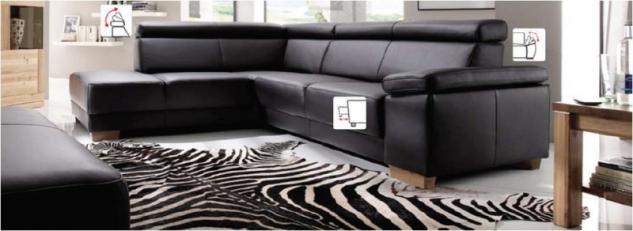 Garnitur Polsterecke Eckgarnitur Ledergarnitur Couch Funktionssofa schwarz Leder W1 - Vorschau 2
