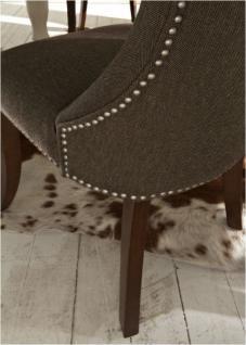 Polstersessel Polsterstuhl 2er Set Sessel mit Ziernägeln Stoff / Beine braun - Vorschau 3