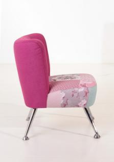 Stuhlsessel Sessel Stuhl Retro Retrostil Leinenoptik violett pink Patchwork Look - Vorschau 2