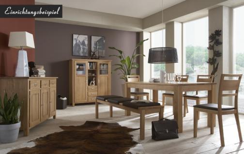 Highboard Vitrinenschrank Sideboard Wohnzimmerschrank Eiche massiv geölt - Vorschau 2