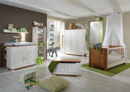 Babyzimmer Kinderzimmer komplett Babybett Schrank Wickelkommode Kiefer massiv - Vorschau 3